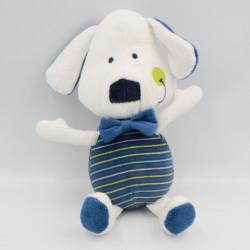 Doudou chien blanc bleu vert rayé ORCHESTRA PREMAMAN