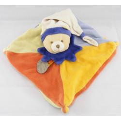 Doudou et compagnie Plat Ours arlequin bleu orange vert