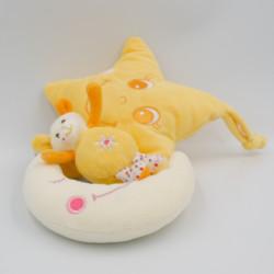 Doudou musical étoile vache jaune orange sur lune GIPSY