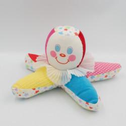Ancien Doudou peluche clown étoile multicolore PLAYSKOOL