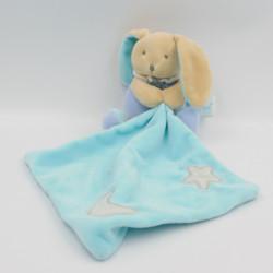 Doudou luminescent lapin beige bleu mouchoir BABY NAT