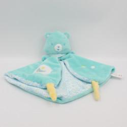 Doudou plat ours bleu vert les Bisounours Baby Jemini