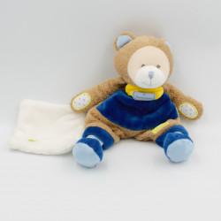 Doudou et compagnie ours beige bleu jaune coeur mouchoir Les Ptitous