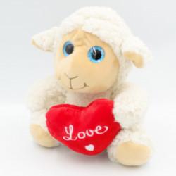 Doudou peluche mouton blanc coeur love MELINERA