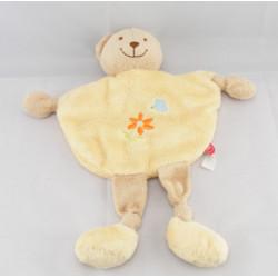 Doudou plat  jaune ours beige fleur papillon brodé TEX