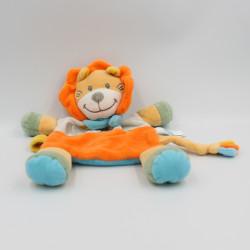 Doudou plat lion orange bleu gris TEX