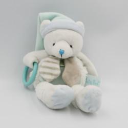 Doudou ours blanc bleu beige anneau Layette BABY NAT