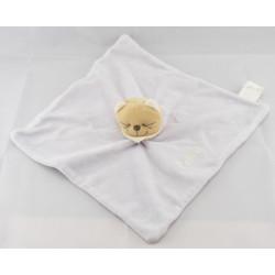 Doudou plat jaune Chat Patou foulard bleu Bengy
