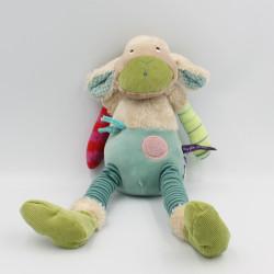 Doudou mouton bleu beige vert rose Les Jolis pas beaux MOULIN ROTY