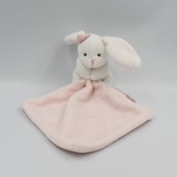 Doudou et compagnie lapin blanc rose noeud mouchoir