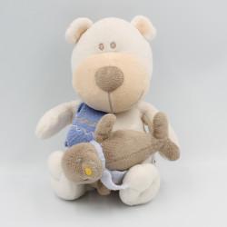 Doudou musical ours blanc beige écharpe bleu otarie BENGY