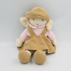 Doudou poupée fille robe beige rose  NOUNOURS