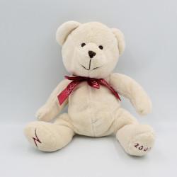 Doudou ours blanc écru noeud rouge NOCIBE 2003