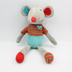 Doudou souris grise rouge vert EBULOBO