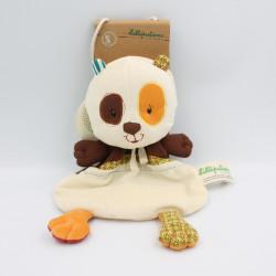 Doudou plat panda Clara marron blanc orange Ecodoux LILLIPUTIENS