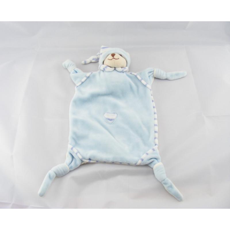 Doudou Plat ours bleu avec coeur BUKOWSKI
