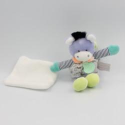 Doudou et compagnie ane gris vert bleu mauve mouchoir Choupi doudou