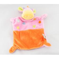 Doudou plat Girafe jaune orange MOTS D'ENFANTS
