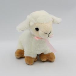 Doudou peluche mouton blanc beige noeud rose DEEF