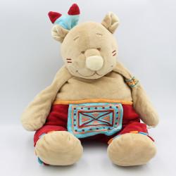 Grand Doudou ours Pinto indien rouge marron tipi NOUKIE'S 42 cm