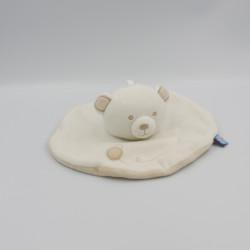 Doudou plat rond ours blanc beige SUCRE D'ORGE