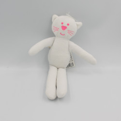 Doudou chat blanc rose BOUT'CHOU BOUTCHOU NEUF