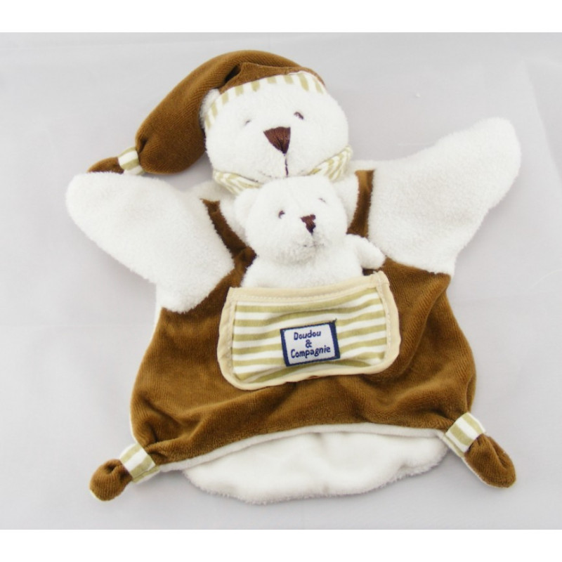 Doudou plat marionnette ours avec bébé DOUDOU ET COMPAGNIE