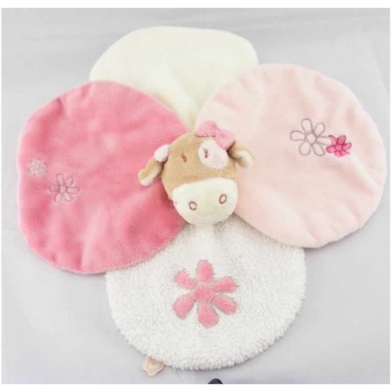 Doudou plat pétale fleurs vache rose rosalie lola BENGY