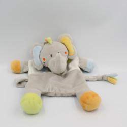 Doudou plat éléphant gris bleu orange vert oiseau NICOTOY