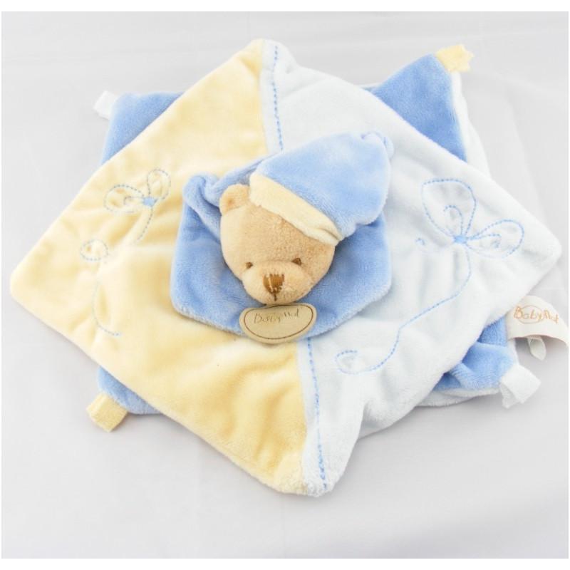 Doudou plat noeuds ours bleu jaune BABY NAT