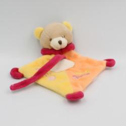 Doudou plat ours jaune orange rouge super tétine BABY NAT