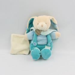 Doudou lapin bleu turquoise mouchoir BABY NAT