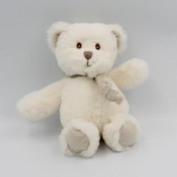 Doudou peluche ours blanc écharpe beige BUKOWSKI