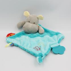 Doudou plat hippopotame bleu jaune BABY NAT
