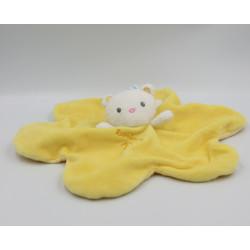 Doudou plat ours blanc jaune LUMINOU