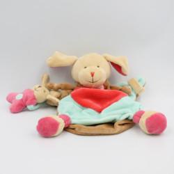 Doudou et compagnie marionnette chien beige bleu rouge fraise