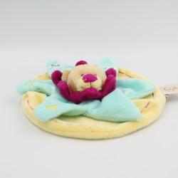 Doudou plat rond étoile ours bleu rose jaune BABY NAT