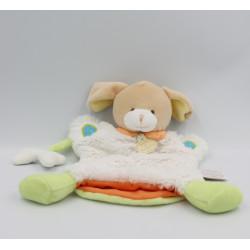 Doudou et compagnie plat marionnette chien blanc vert orange Choupi