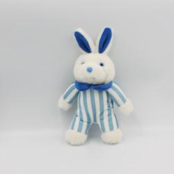 Doudou lapin blanc rayé bleu DODOT