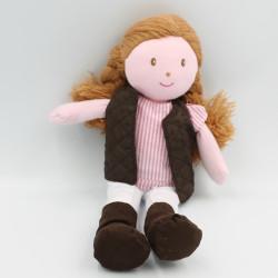 Doudou poupée rose marron blanc Valentine Ecuyere JACADI