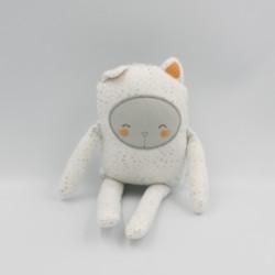 Doudou ours chat blanc gris orange étoiles DPAM