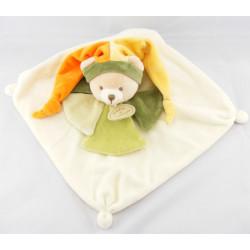 Doudou et compagnie plat ours arlequin orange vert Collector