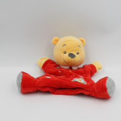 Doudou plat marionnette Winnie l'ourson rouge DISNEY BABY