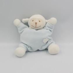 Doudou semi plat mouton bleu blanc nuage BOUTCHOU BOUT'CHOU