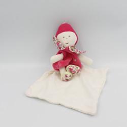 Doudou poupée lutin rose blanc fleurs mouchoir BERLINGOT