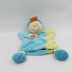 Doudou plat marionnette garçon lutin bleu vert voiture BABY LUNA