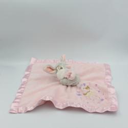 Doudou plat couverture rose satin lapin Pan-pan Panpan Bambi Disney