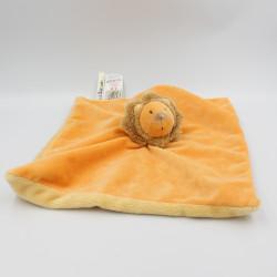 Doudou plat carré lion orange Les Zazous MOULIN ROTY