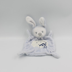 Doudou plat lapin bleu blanc GRAIN DE BLE