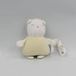 Mini doudou chat ours blanc jaune VERTBAUDET